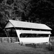 Ohio Covered Bridge In Black And White Art Print