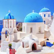 Oia Town On Santorini Island Greece Aegean Sea Art Print