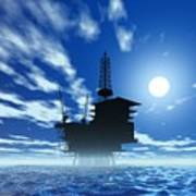Oil Rig, Artwork Art Print by Victor Habbick Visions