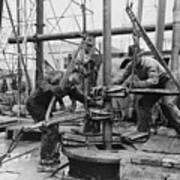 Oil Rig Workers, Called Roughnecks Art Print