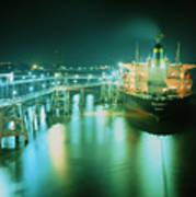 Oil Tanker In Port At Night. Art Print