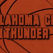 Oklahoma City Thunder Leather Art Art Print
