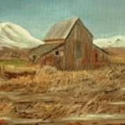 Old Barn And Mountain View Art Print