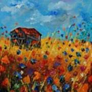 Old Barn And Wild Flowers Art Print