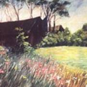Old Barn And Wildflowers Art Print