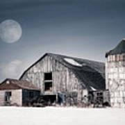 Old Barn And Winter Moon - Snowy Rustic Landscape Art Print