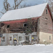 Old Barn In Upper Roxborough In The Snow Art Print