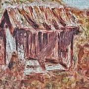 Old Barn Outhouse Falling Apart In Decay And Dilapidation Rotting Wood Overgrown Mountain Valley Sce Art Print