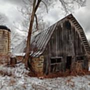 Old Barn Winter Art Print
