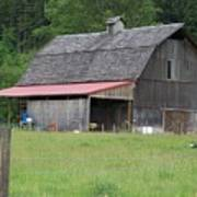 Old Barn With Red Leanto  Washington State Art Print