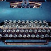 Old Blue Typewriter Art Print