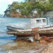 Old Boat At China Camp Art Print