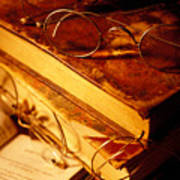 Old Books And Glasses Art Print
