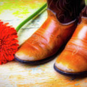 Old Boots And Daisy Art Print
