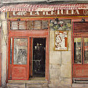 Old Cafe- Santander Spain Print by Tomas Castano