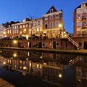 Old Canal In Utrecht At Dusk 211 Art Print
