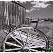 Old Cart And Building Bodie California Art Print