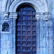 Old Cathedral Door In Barcelona Art Print