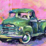 Old Chevy Chevrolet Pickup Truck On A Street Art Print
