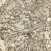 Old Chinese Map Art Print