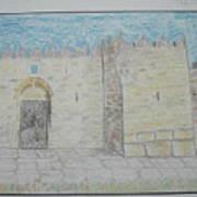 Old City.jerusalem.color Pencils 1992 Art Print