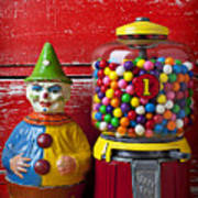 Old Clown Toy And Gum Machine  Art Print by Garry Gay
