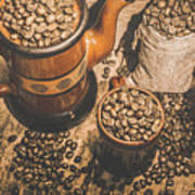 Old Coffee Brew House Beans Art Print