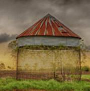 Old Corn Crib In The Cloudy Sky Art Print