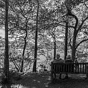 Old Couple On The Bench By The Lake Art Print