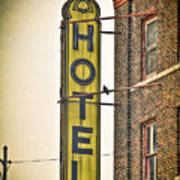 Old Detroit Hotel Sign Art Print