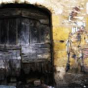 Old Door With Street Art Art Print