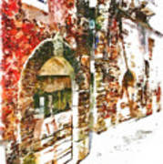 Old Doors Of The Houses Of The Village Art Print