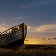 Old Dungeness Fishing Boat Under The Stars Art Print