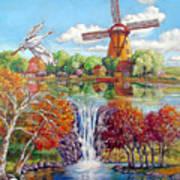 Old Dutch Windmill Art Print