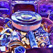 Old Engine Of American Car Art Print