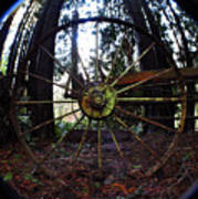 Old Farm Wagon Wheel Art Print