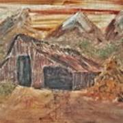 Old Farmhouse With Hay Stack In A Snow Capped Mountain Range With Tractor Tracks Gouged In The Soft  Art Print