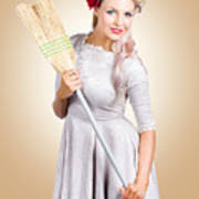 Old Fashion Woman Spring Cleaning With Broom Art Print