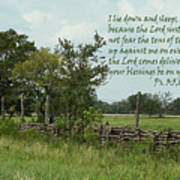 Old Fashioned Fence  Psalm Three Vs Five Six And Eight Art Print