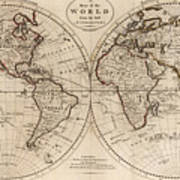 Old Fashioned World Map Art Print By CartographyAssociates - Old time world map