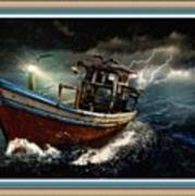 Old Fishing Boat In A Storm L B With Decorative Ornate Printed Frame. Art Print