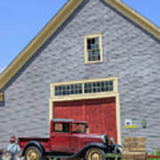 Old Ford Model A Pickup In Front Barn Art Print