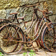 Old French Bicycles Art Print by Debra and Dave Vanderlaan