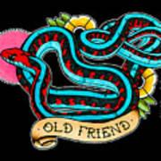 Old Friend Red-sided Gartersnake Art Print