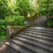 Old Garden With Stone Walls And Stair Steps Art Print