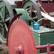 Old Gas Engine And Saw Blade At A County Fair Art Print