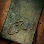 Old Glasses And Old Green Book Art Print