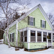 Old Green And White New Englander Home Art Print