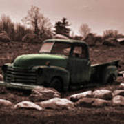Old Green Truck Art Print