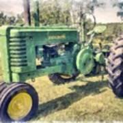 Old Green Vintage Tractor Watercolor Art Print